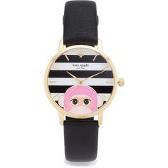 Kate Spade New York Novelty Leather Watch (280 NZD) ❤ liked on Polyvore featuring jewelry, watches, dial watches, leather wrist watch, kate spade, kate spade watches and leather watches
