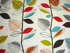 turquoise and orange fabric | ... turquoise blue red orange yellow green brown gray grey leaf fabric rod