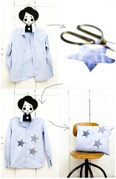 Upcycling: Aus Hemd wird Kissen / Shirt becomes pillowcase