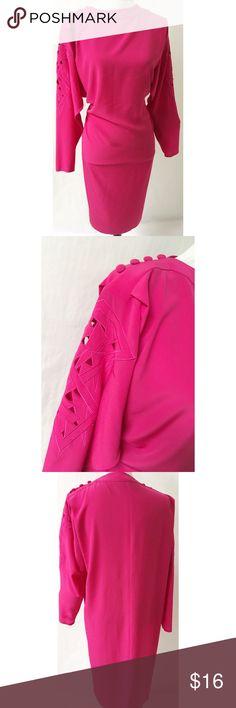 Pink Vintage Dress Size Large Polyester Length 44 Bust 38 Vintage Dresses