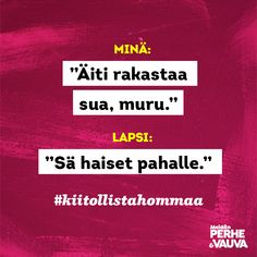 #kiitollistahommaa  Vauva.fi Meidän Perhe -lehti Parenting Quotes, Hilarious, Funny, Parents, Dads, Just For You, Movie Posters, Instagram, Film Poster