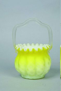 Yellow satin glass basket  circa 1900