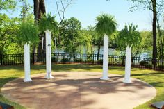 Wedding Decor- Tall White Columns with Ferns