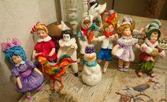 Купить Ватные винтажные игрушки (Бронь) - комбинированный, ватные елочные игрушки, Новый Год, винтаж