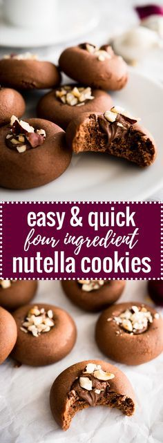 These Nutella Cookies are SO easy and quick to make! And you only need FOUR ingredients to make these hazelnut spread stuffed cookies. via @platedcravings
