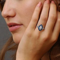 Art Deco Engagement Ring - GIA Certified Marquise Diamond