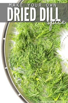 Talk about saving money This tutorial for dehydrating dill is so easy and you will literally save 50 off the shelfprice of dried dill One 2 bunch makes twice as much as t. Dehydrated Vegetables, Dehydrated Food, Homemade Spices, Homemade Seasonings, Drying Dill, Drying Herbs, Canning Food Preservation, Preserving Food, Dehydrator Recipes