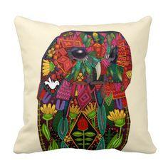 tawny owl cream pillow #zazzle #artsprojekt #illustration #pillow #cushion #sharonturner #scrummy #art #nature #flowers #bird #drawing #flowers #floral #botanical #pink #red #cream #green #animal #bird