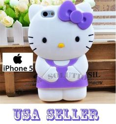 3D Hello Kitty White Purple Bow Soft Silicone Back Cover Case iPhone 5 5g | eBay