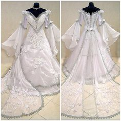 Silver Meval Wedding Dress Gothic M L 12 14 16 18 Renaissance Narnia Robe