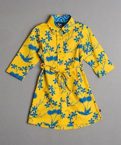 Another great find on #zulily! Yellow & Blue Floral Shirt Dress - Girls #zulilyfinds