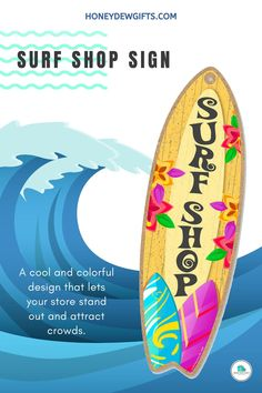 Get away from standard store signs with Honey Dew Gifts Surf Shop wooden surfboard sign. This wooden board features a cool and colorful design that lets your store stand out and attract crowds. This sign is a sure winner whether you display it inside as a decor or hang it outside as a store sign.