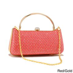 This sparkling and eye-catching Dasein clutch comes in a hard case body with a touch of gold and boat-shape figure adds a nice curve to this alluring accessory.