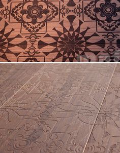 Decorative etched wood floor series from Mafi range from abstract florals to embosses stick figures.