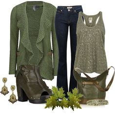 Green with ruffles and sparkle
