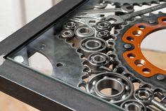 Tisch aus Motorradteilen Reuse, Metal Working, House Design, Sculpture, Iron, Wood, Home, Industrial Style Furniture, Steel Art
