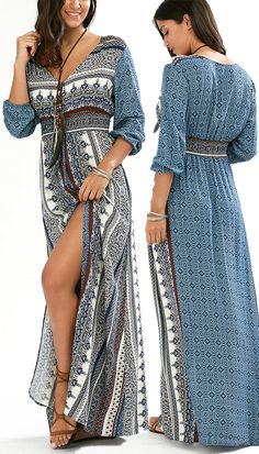 $18.80 Empire Waist Button Down Flowy Beach Bohemian Maxi Dress - Blue