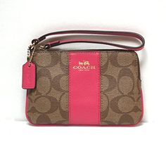 Women's Wristlet Handbags - Coach Signature PVC Leather Corner Zip Wristlet  KhakiPink >>> Visit the image link more details.
