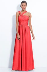 ML Monique Lhuillier Bridesmaids Twist Shoulder Satin Chiffon Gown (Nordstrom Exclusive)
