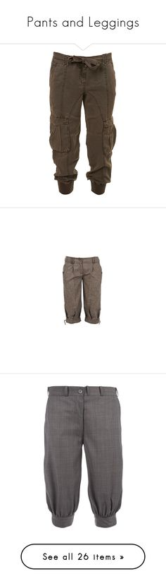 """""""Pants and Leggings"""" by maggiehemlock ❤ liked on Polyvore featuring pants, capris, bottoms, jeans, trousers, cropped, tie waist trousers, cropped pants, utility pants and brown trousers"""