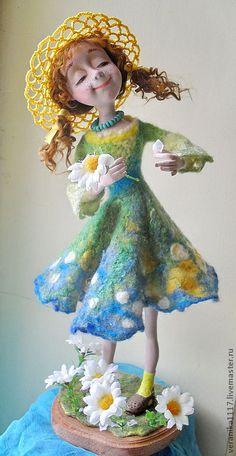 """Купить Авторская кукла """"Любит- не любит..."""" - зелёный, кукла ручной работы, лето, ромашки"""
