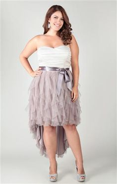 Deb Shops #homecoming #dress plus size, two tone, glitter mesh, strapless tube ruched twist tendril high low hem $84.90
