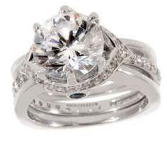 Judy Meli Diamonique Sterling 5.00 ct tw 2-pc. Ring Set