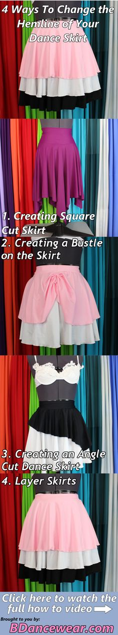 4 ways to change the hemline of your dance skirt for a DIY dance costume.