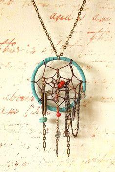 Chained Dream Catcher Necklace  . . .  ღTrish W ~ http://www.pinterest.com/trishw/  . . .   #handmade #jewelry #pendant