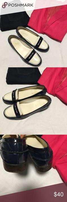 Ralph Lauren Loafers Ralph Lauren navy blue and cream patent leather loafers Lauren Ralph Lauren Shoes Flats & Loafers