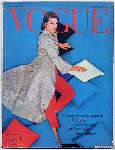 Vogue Paris 1955 November, Photo Henry Clarke, Jacques Griffe, Lingerie, Fourrures, Coiffures