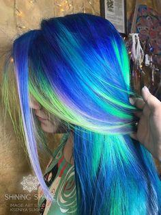 ANTHOCYANIN | АНТОЦИАНИН Green Hair Girl, Locks, Hair Styles, Beauty, Hair Plait Styles, Door Latches, Hair Looks, Haircut Styles, Hairdos