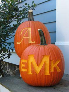 etched monogrammed pumpkins