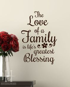 The Love of a Family is life's greatest Blessing words Wall decal lettering vinyl sayings with daisy flower home decor on Etsy, $17.00