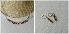 Capri gold Czech glass crystal necklace & earrings set $18