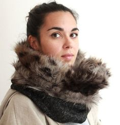 Snock® unisex winter cowl scarf fur snood fur cowl with by jaffic