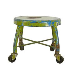 Multi-Colored Industrial Welding Shop Stool C1940s