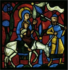 The Flight into Egypt, from the Infancy of Christ Window (? Abbey of Saint-Denis, France. Collection of Glencairn Museum Photograph courtesy of Glencairn Museum Medieval Stained Glass, Stained Glass Angel, Stained Glass Paint, Stained Glass Windows, Wine Bottle Wall, Wine Bottles, Art Roman, Religion, The Cloisters
