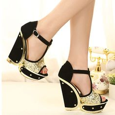 Sequined Rivets T Strap Peep Toe Wedge Gold Sandals