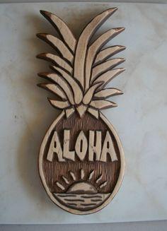 Items similar to Aloha hand carved pineapple, luau party decor on Etsy Hawaiian Homes, Hawaiian Decor, Hawaiian Art, Hawaiian Tattoo, Hawaiian Phrases, Rock N Folk, Aloha Spirit, Aloha Hawaii, Hawaii Hula
