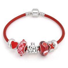 Bling Jewelry I Love You Heart CZ Pandora Compatible 925 Silver Charm Bracelet