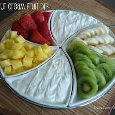 Coconut Cream Fruit Dip! I just made this tonight and its so Yummy! I will be making this for the next gathering! Dip Recipes, Fruit Recipes, Appetizer Recipes, Snack Recipes, Cooking Recipes, Fruit Dips, Fruit Platters, Cooking Tips, Healthy Snack Foods