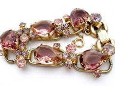 D E Juliana Pink Givre Bi Color Amethyst Purple Rhinestone Bracelet Vintage | eBay