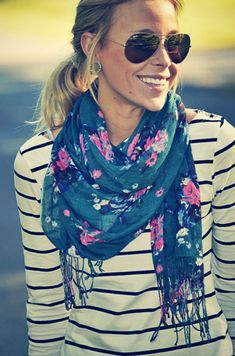 classic stripe shirt with floral print scarf