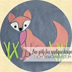 Free Girly Fox Applique Pattern - SewCanShe Applique of the Month Club