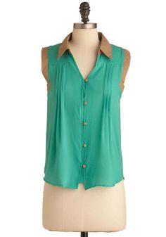 I love greens esp. mint-ish greens Campground Ladies Top #ModCloth