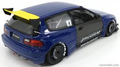 IGNITION-MODEL IG1051 Scale 1/18 HONDA CIVIC EG6 PANDEMTUNED VERSION 1991 BLUE YELLOW Corsa Wind, Ignition Model, Civic Eg, Honda Civic Hatchback, Diecast Model Cars, Radio Control, Custom Cars, Cars And Motorcycles, Blue Yellow