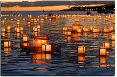 Floating lanterns - a nice party treat at nightime if by water and they're biodegradable. Just be careful lighting them!