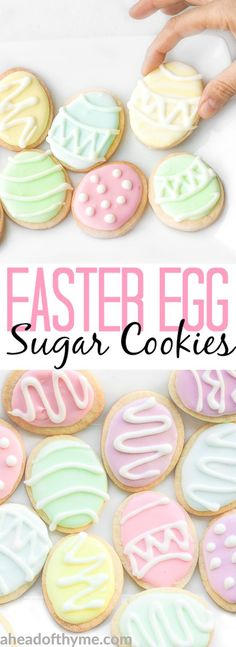 These cute, delicious and easy-to-make Easter egg sugar cookies are the perfect treat this Easter! | aheadofthyme.com via Sam | Ahead of Thyme