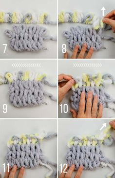 Free Loop Yarn Finger Knitting Blanket Pattern + Tutorial for Beginners Lion Brand Off the Hook yarn step-by-step tutorial on how to change colors, including video. Also use with Bernat Alize, Red Heart Loop-It or other loop yarn. Baby Knitting Patterns, Loom Patterns, Crochet Patterns, Knitting Ideas, Loom Knitting For Beginners, Finger Knitting Projects, Yarn Projects, Finger Knitting Blankets, Arm Knitting